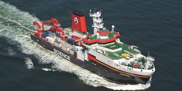 Das Bild zeigt das Forschungsschiff SONNE