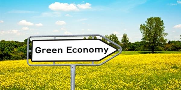 Das Bild zeigt eine Wegschild mit der Aufschrift Green Economy.