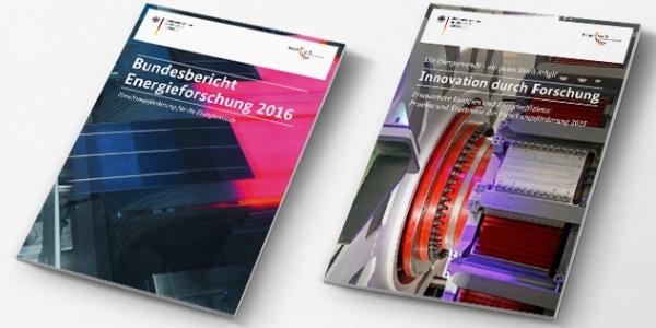 Das Bild zeigt den Bundesbericht Energieforschung 2016 und den Bericht Innovation durch Forschung.