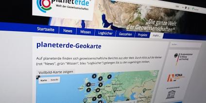 Das Bild zeigt einen Screenshot der Seite planeterde.de.