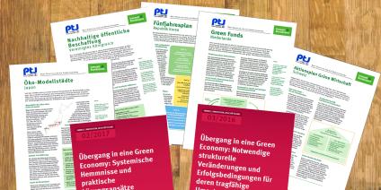 Das Bild zeigt die Titel der Publikation zur UBA-Studie zum Übergang in eine Green Economy.