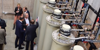 Das Bild zeigt die Anlage zur Erzeugung von Wärme durch Grubenwässer in Zwickau.