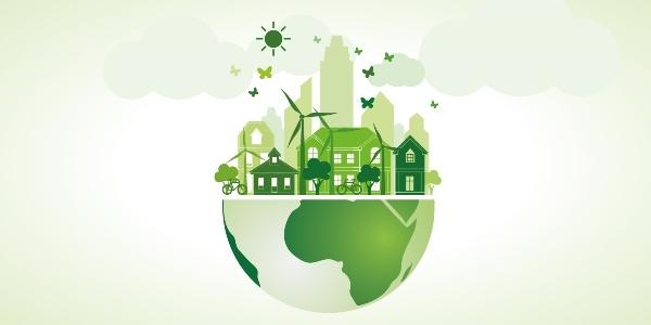 Erde als Halbkugel mit Häusern, Fahrrädern, Bäumen, Windrädern, Sonne und Wolken