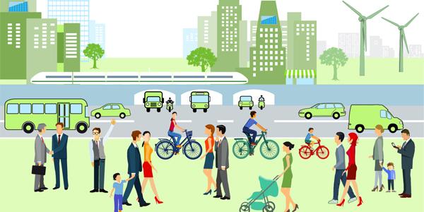 Die Vektorgrafik zeigt Menschen, die mit verschiedenen Verkehrsmitteln unterwegs sind.