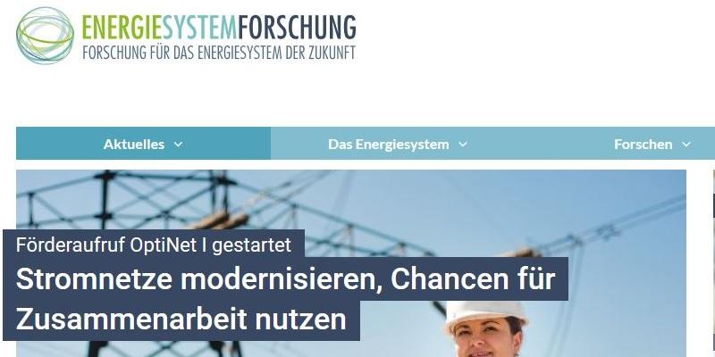 Startseite des Portals energiesystem-forschung.de