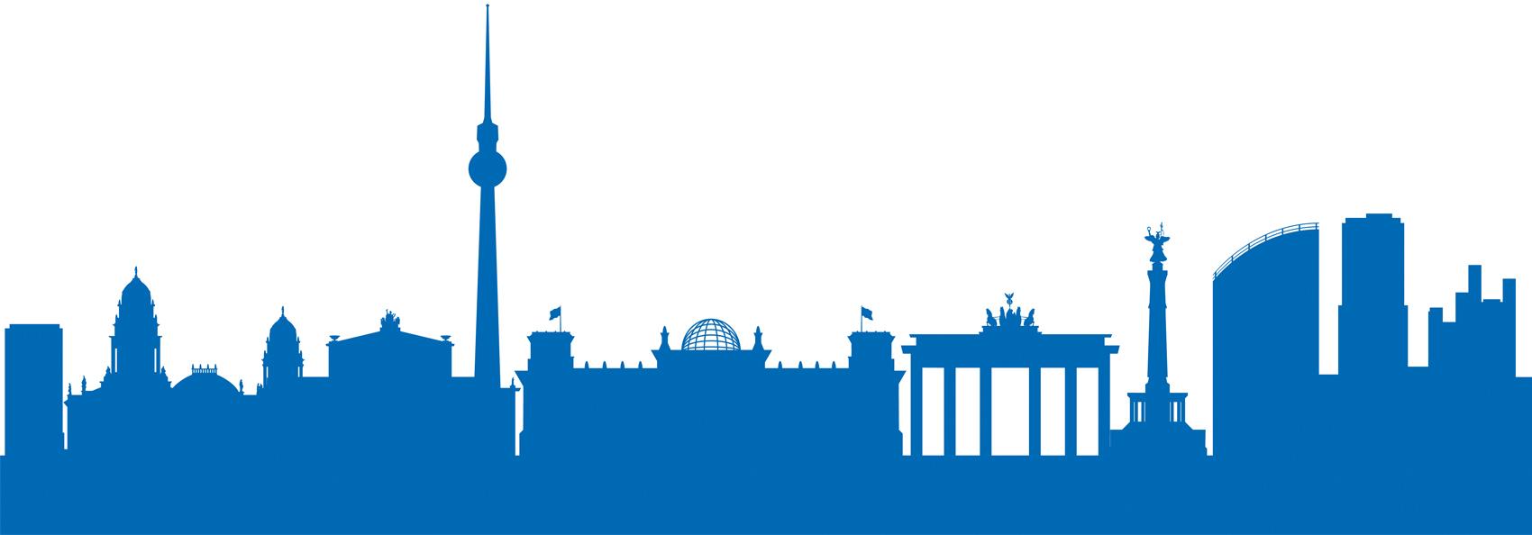 Die Grafik zeigt die Silhouette der bekanntesten Sehenswürdigkeiten in Berlin.