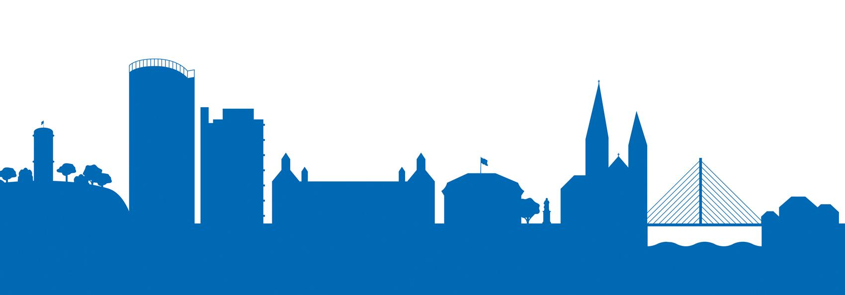 Die Grafik zeigt die Silhouette der bekanntesten Sehenswürdigkeiten von Bonn.