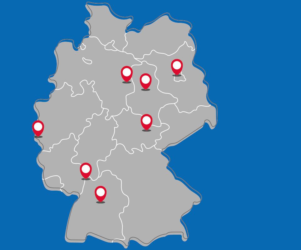 Karte der Forschungscampi