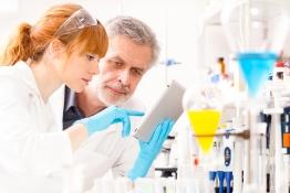 Das Bild zeigt zwei Forscherinnen und Forscher im Büro.